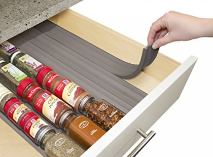 YouCopia SpiceLiner In Drawer Spice Organizer 6 Pack (24 Bottles) Warm Gray